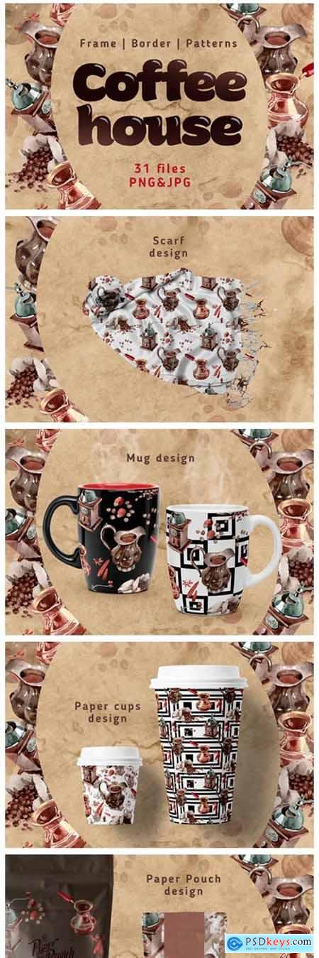 Coffee House PNG Watercolor Set 4755902