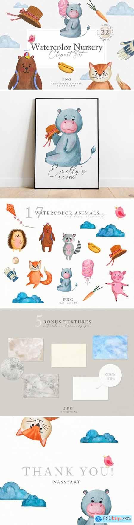 Watercolor Nursery Clipart Animals