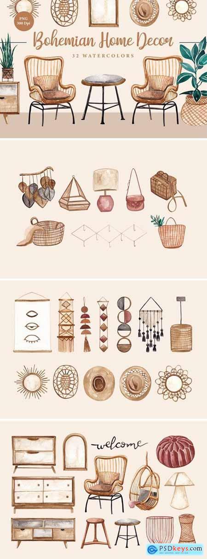 Bohemian Home Decor Asset Watercolors