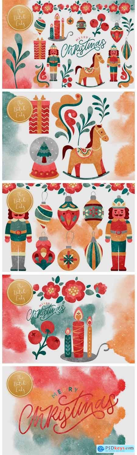 Christmas Toys & Ornaments Clipart Set 5890033