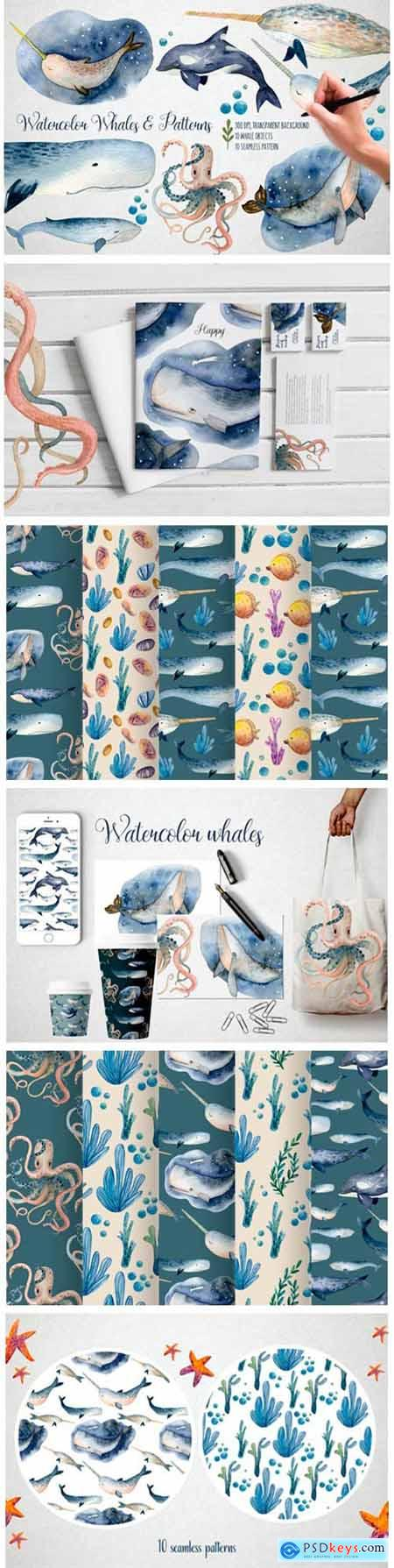 Watercolor Whales & Patterns 5872171