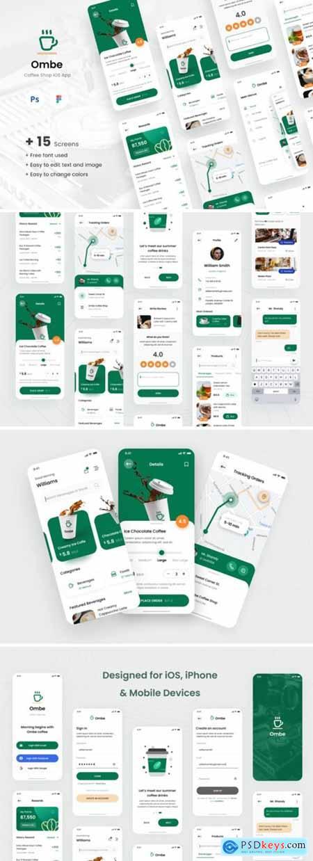 Ombe - Coffee Shop IOS App Design UI 5895949