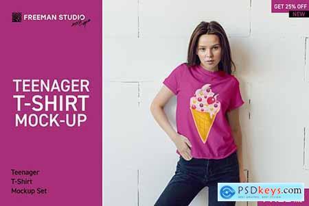 Teenager T-Shirt Mock-Up Set 3853140