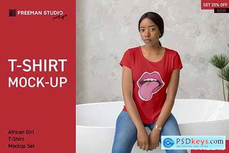 African Girl T-Shirt Mock-Up Set 3908005