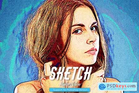 Color Sketch Photoshop Action 5467192