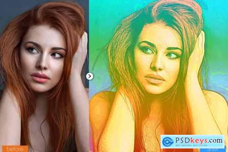 Color Sketch Photoshop Action V2 5467241
