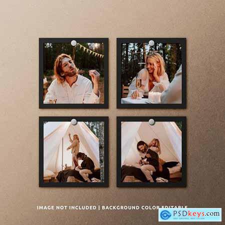 Portrait black paper photo frame mockup