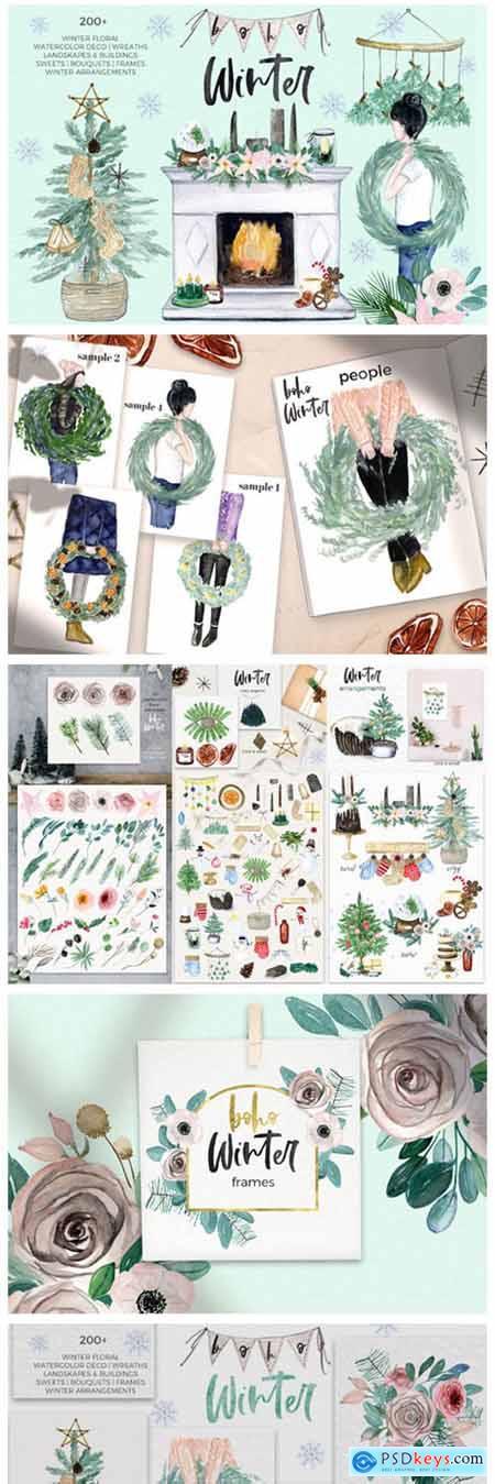 Boho Winter & Christmas Watercolors 5932921