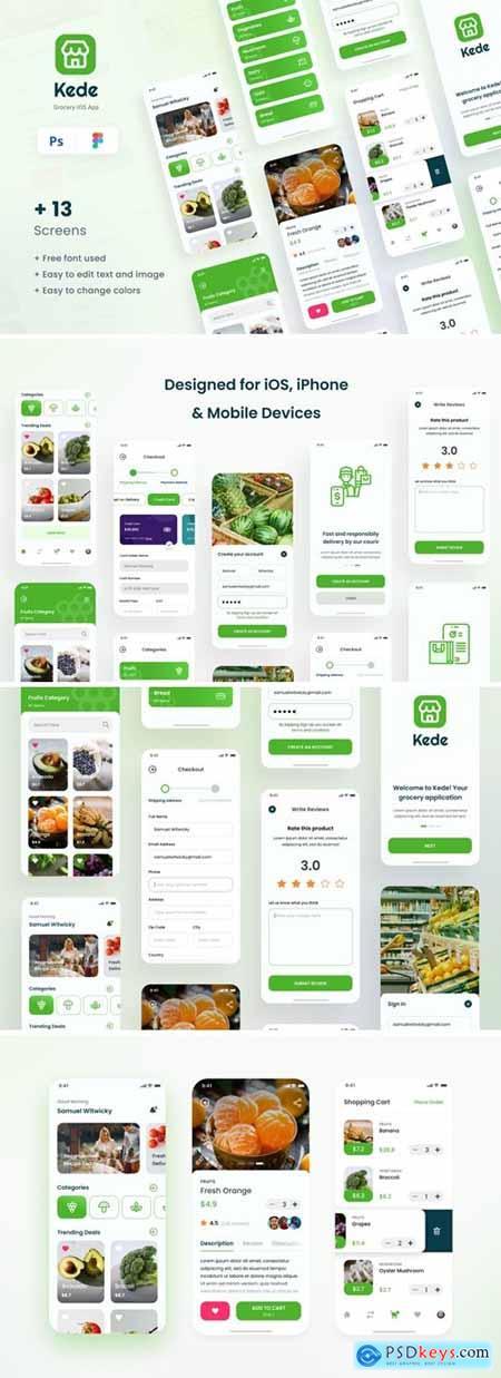 Kede - Grocery iOS App Design UI Template