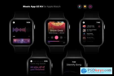 Music App UI Kit for Apple Watch Template