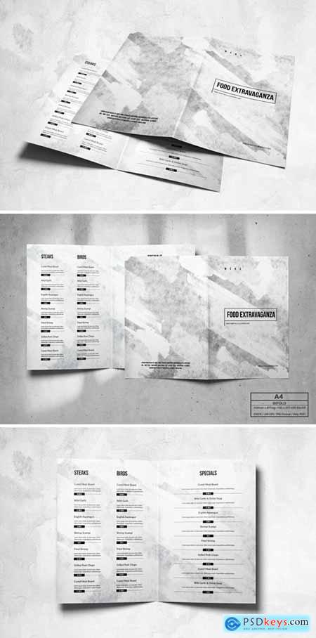 Bifold Food Menu Design A4 & US Letter JLXLTYJ