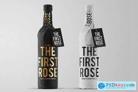 Wine Bottle Paper Wrap Mockup Template