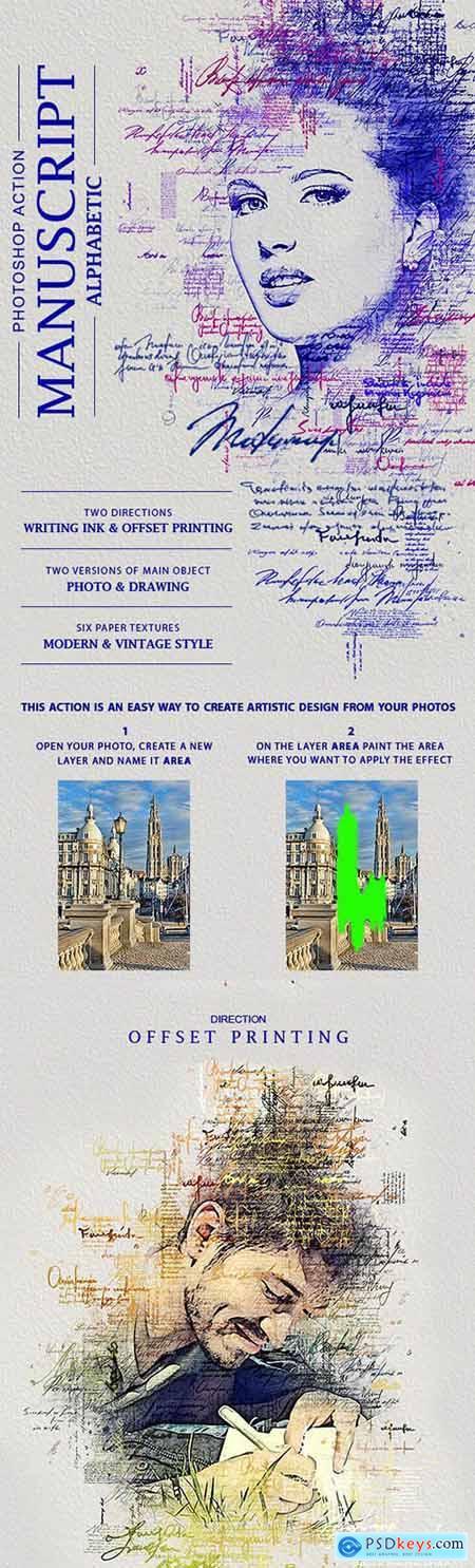 Manuscript (Alphabetic) Photoshop Action 28663128