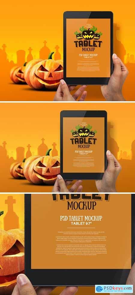 Halloween Mockup Hands Holding Tablet