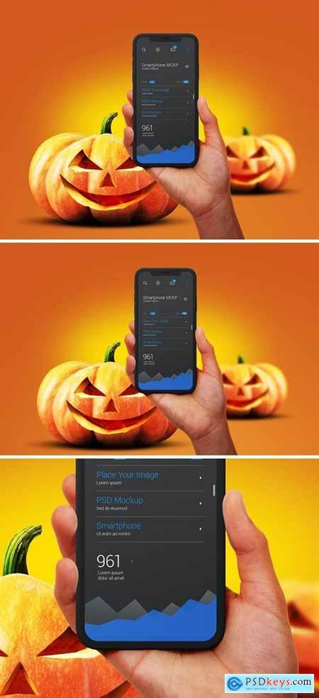 Halloween Mockup Hands Holdind Smartphone