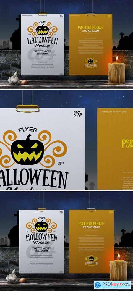 Halloween Mockup Hanging A4 Flyer Poster 02