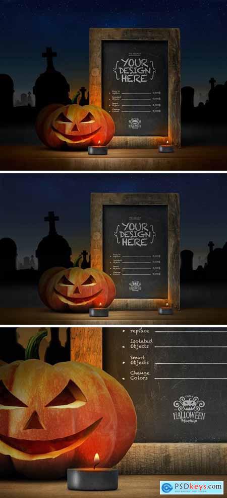 Halloween Mockup Rustic Chalkboard Poster