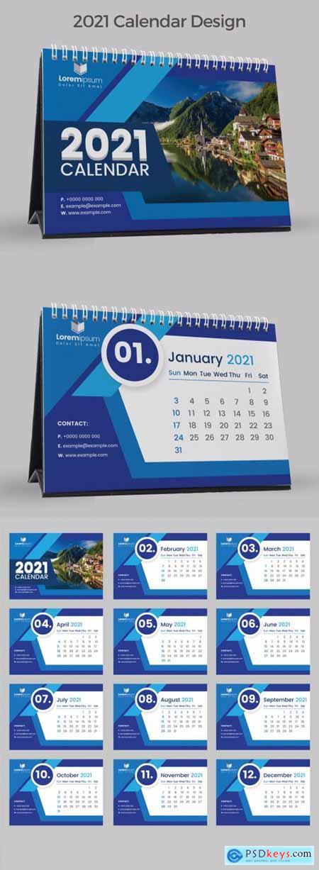 2021 Blue Desk Calendar for Tea Table 383387614