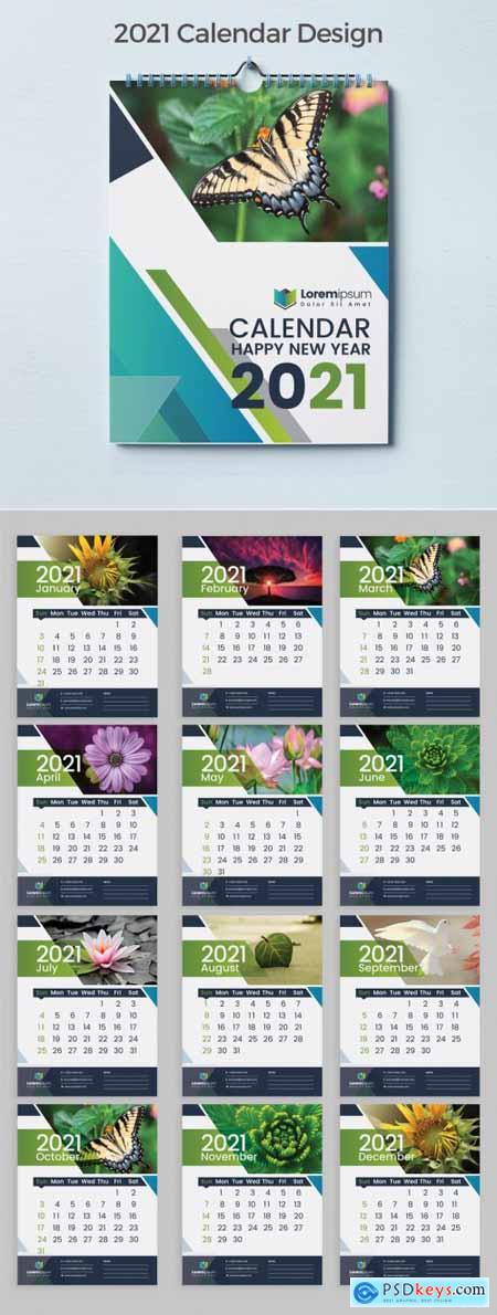 Calendar 2021 with Blue Abstract Layout Design 383387804