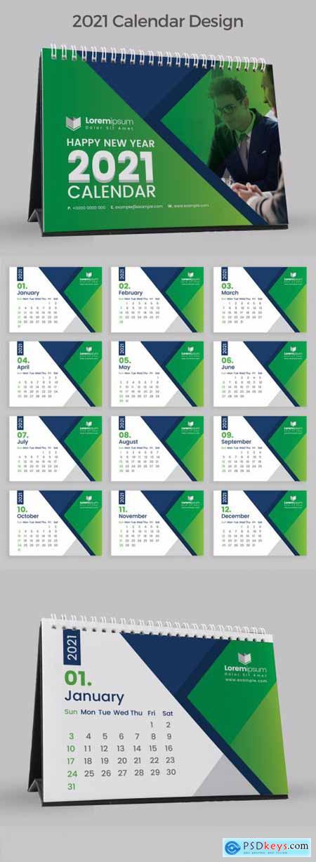 Green Abstract Desk Calendar 2021 383388011