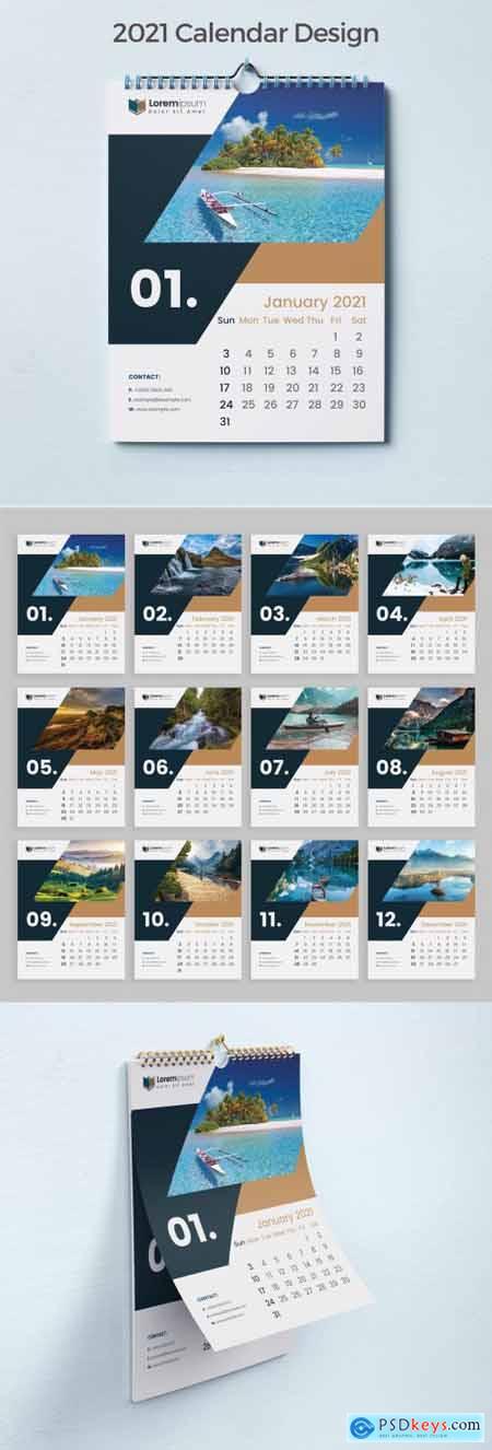 Creative Wall Calendar 2021 Happy New Year 383387904