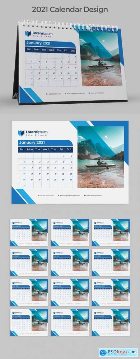 New Year Desk Calendar 2021 with Blue Accents 383387931