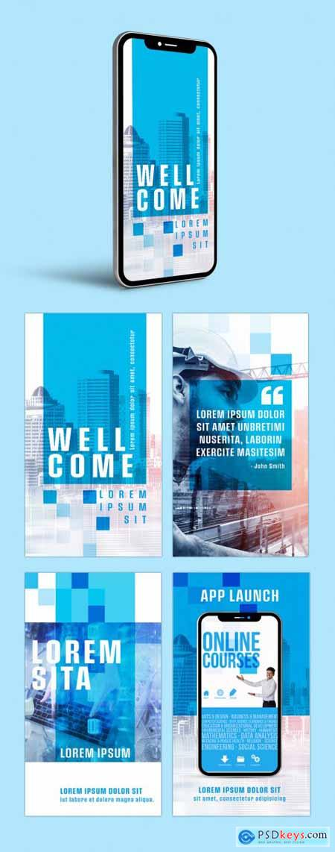 Multipurpose Business Blue Social Media Kit Layouts 385334220