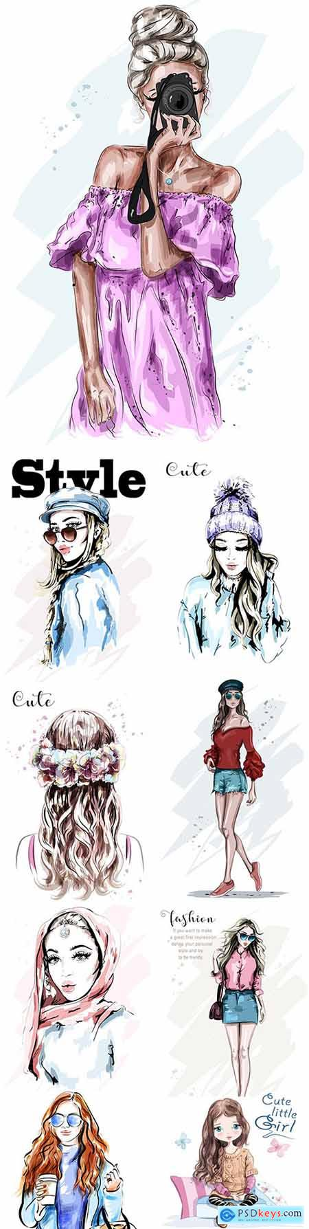 Beautiful young girl in stylish clothing illustration