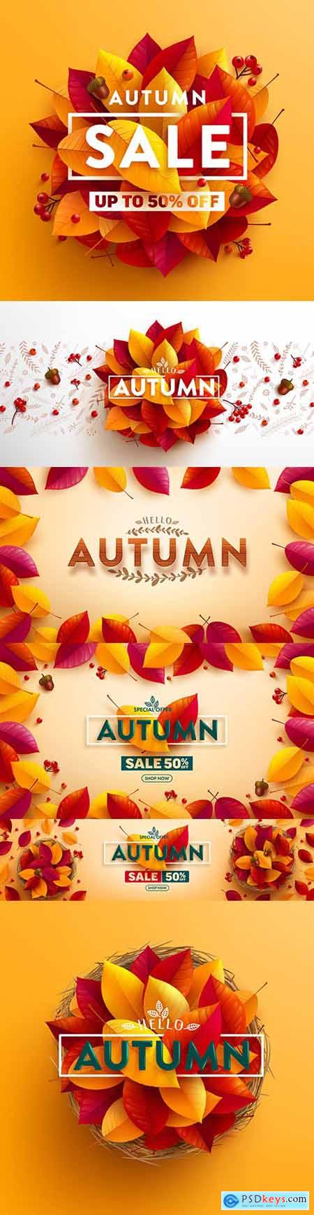 Autumn sale poster and banner with autumn multi-colored leaves