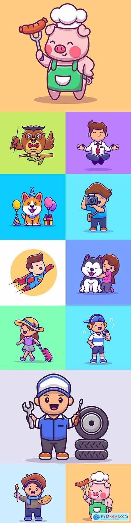 Emblem mascot and Brand name logos design 14