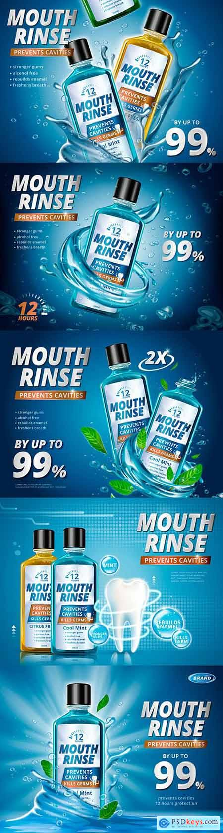 Mouthwash advertisements and refreshing 3d illustrations