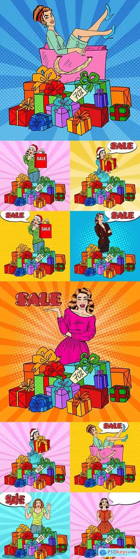 Pop art happy woman with huge gift boxes illustration