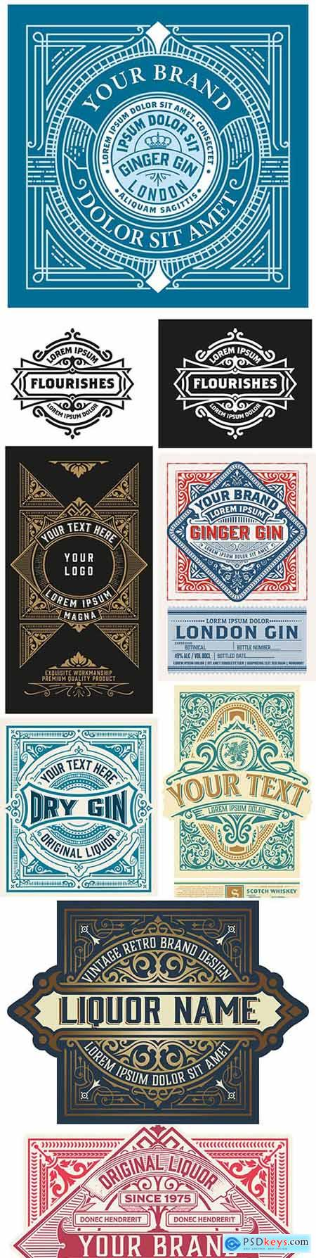 Vintage logo and etiquette template with detailed design 3