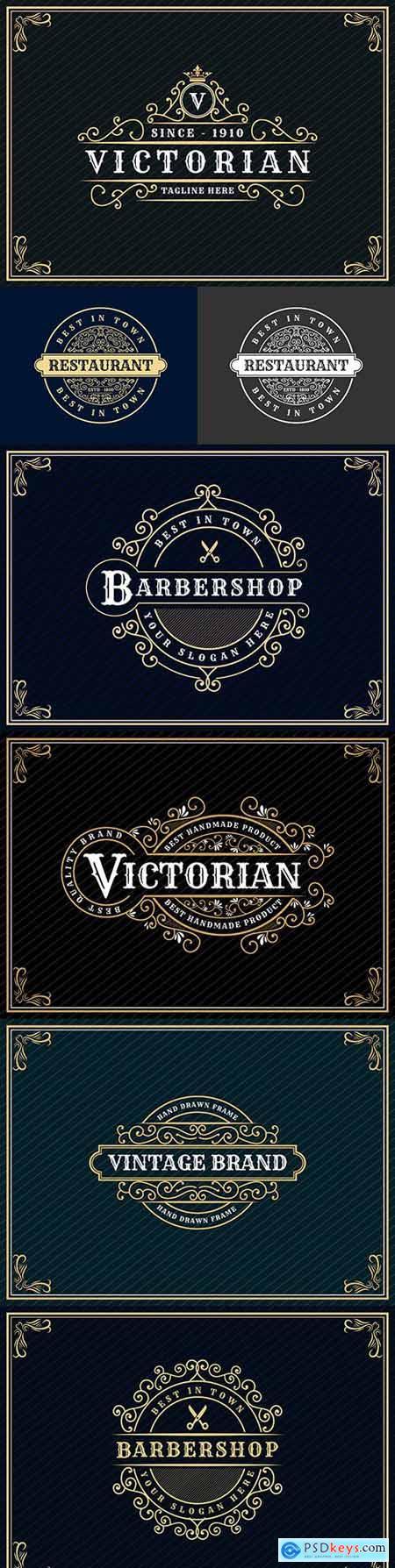 Luxury royal vintage design logo with decorative frame