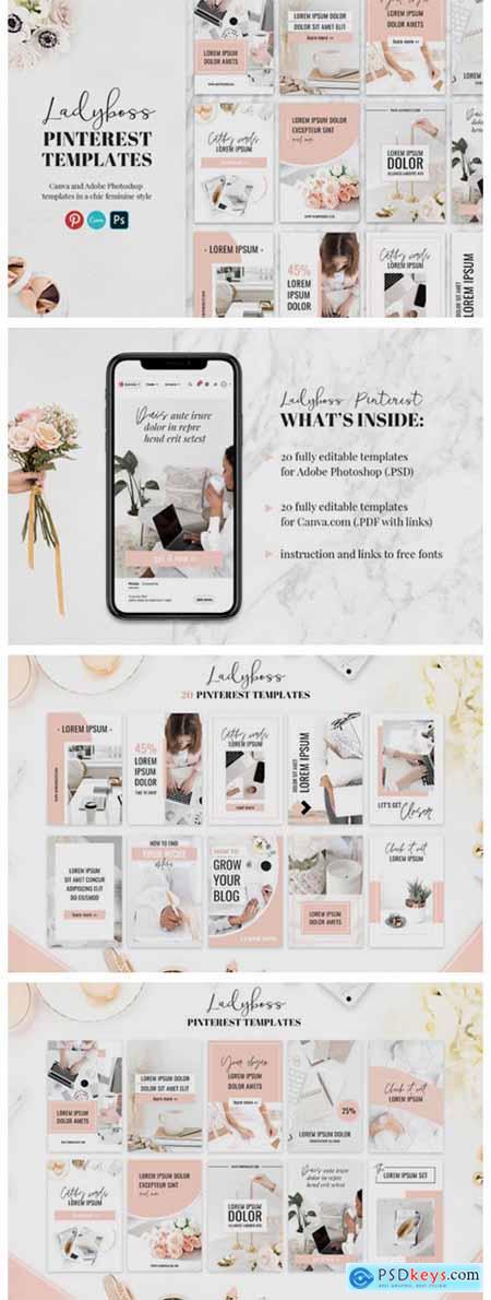Ladyboss Pinterest Templates Canva 6085465