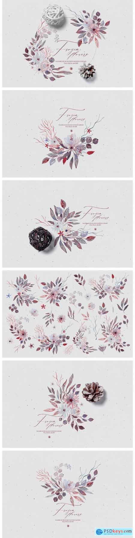 Watercolor Floral Set - Frozen Flowers 6074412