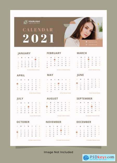 Fashion wall calendar 2021 template