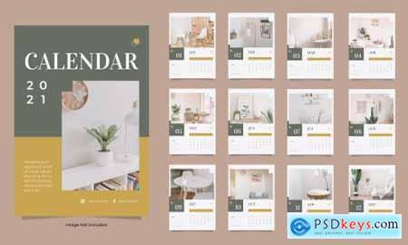 Minimalist interior wall calendar 2021