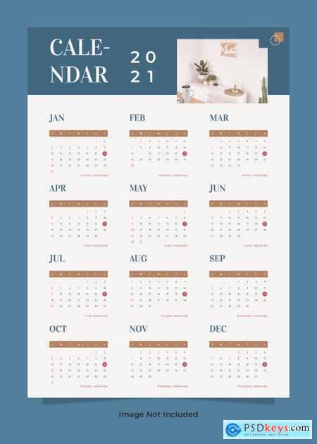 Minimalist furniture wall calendar 2021