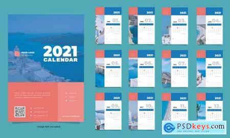 Travel wall calendar 2021 template