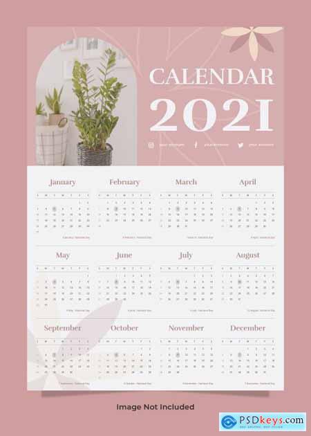Plant wall calendar 2021 template