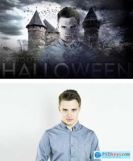 Halloween Scary Photo Effect 385354529
