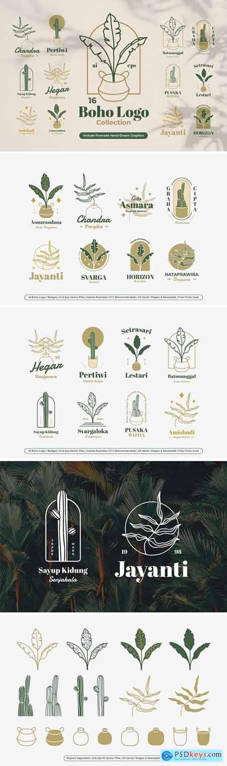 Boho Botanical Badges Logo