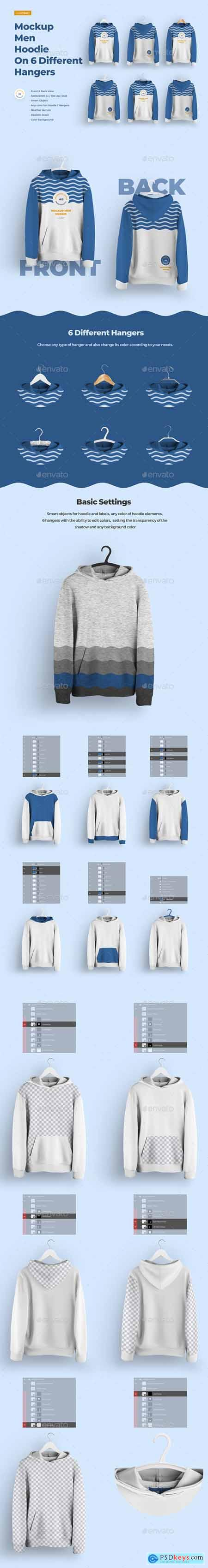 Front and Back Men Hoodie Mockup On 6 Different Hangers 28923565