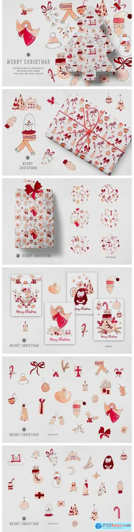 Watercolor Clipart - Merry Christmas 6107726