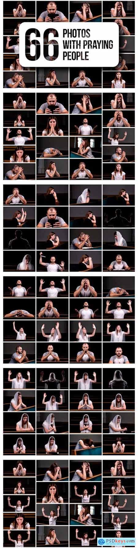 Set of 66 Photos with Praying People 6099979