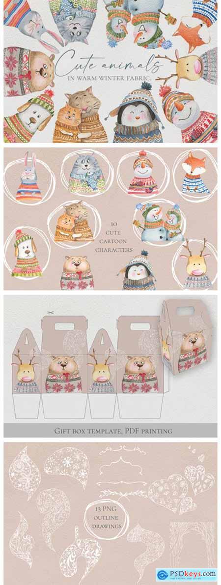 Cute Animals in Warm Winter Fabric 6069865