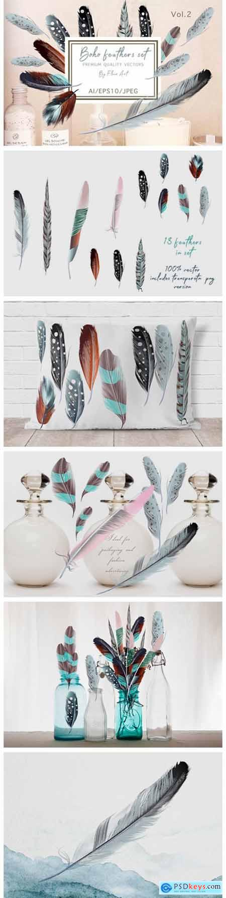 Bohemian Mood Vector Feathers Set 6124586