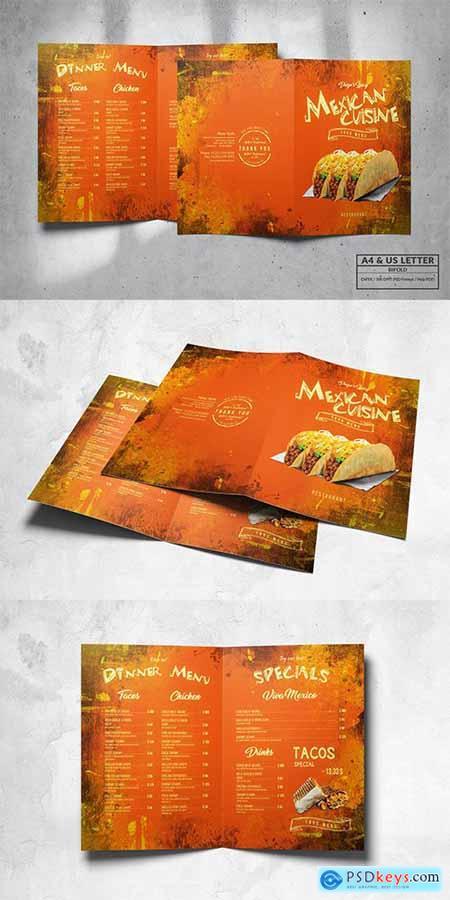 Mexican Bifold Food Menu Design A4 & US Letter