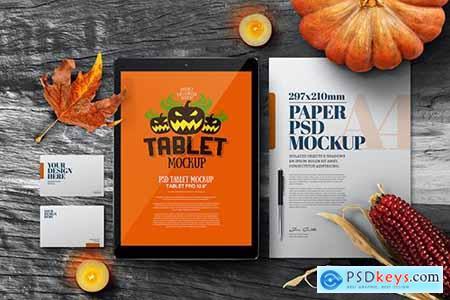 Halloween Autumn Stationery A4 Tablet Mockup TQLUVW7